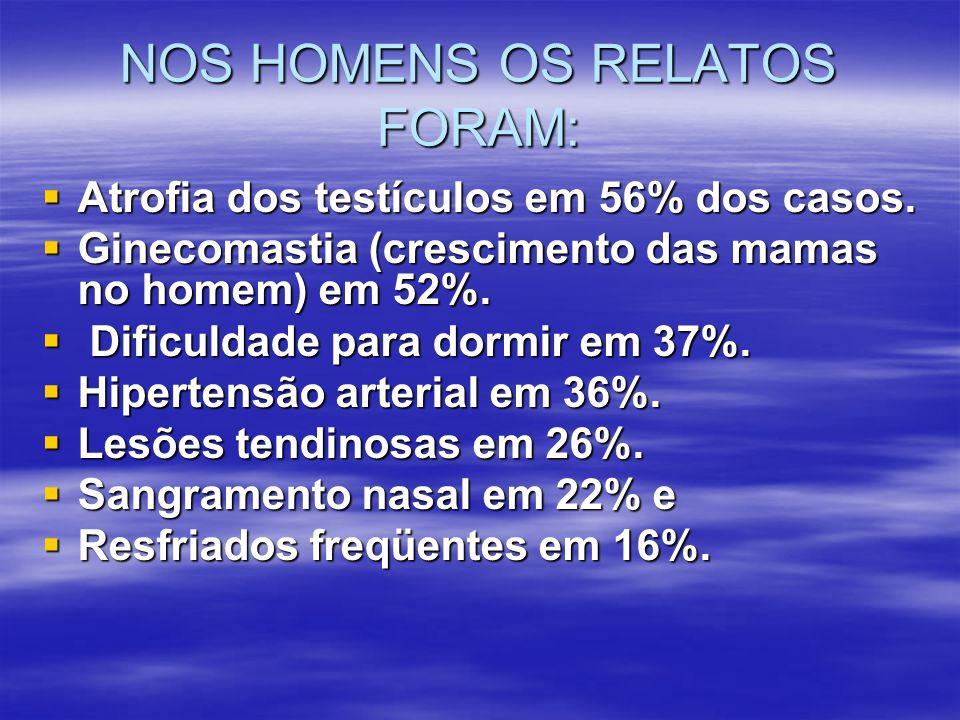 NOS HOMENS OS RELATOS FORAM: Atrofia dos testículos em 56% dos casos. Atrofia dos testículos em 56% dos casos. Ginecomastia (crescimento das mamas no