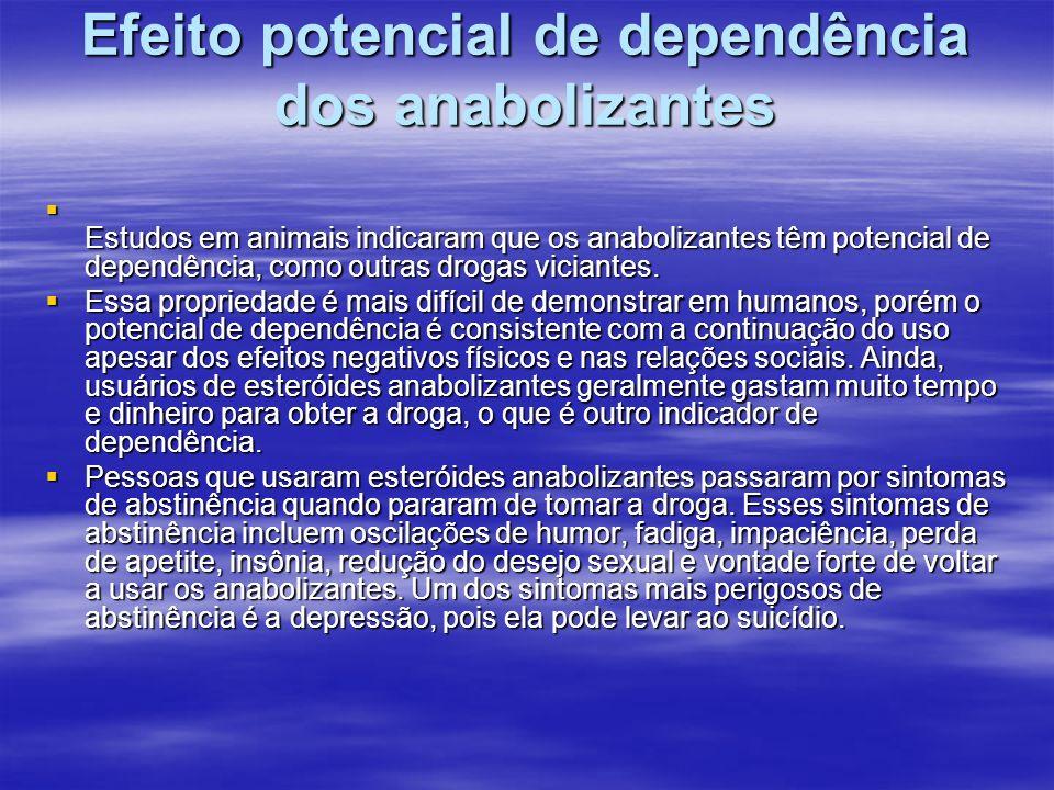 Efeito potencial de dependência dos anabolizantes Estudos em animais indicaram que os anabolizantes têm potencial de dependência, como outras drogas v