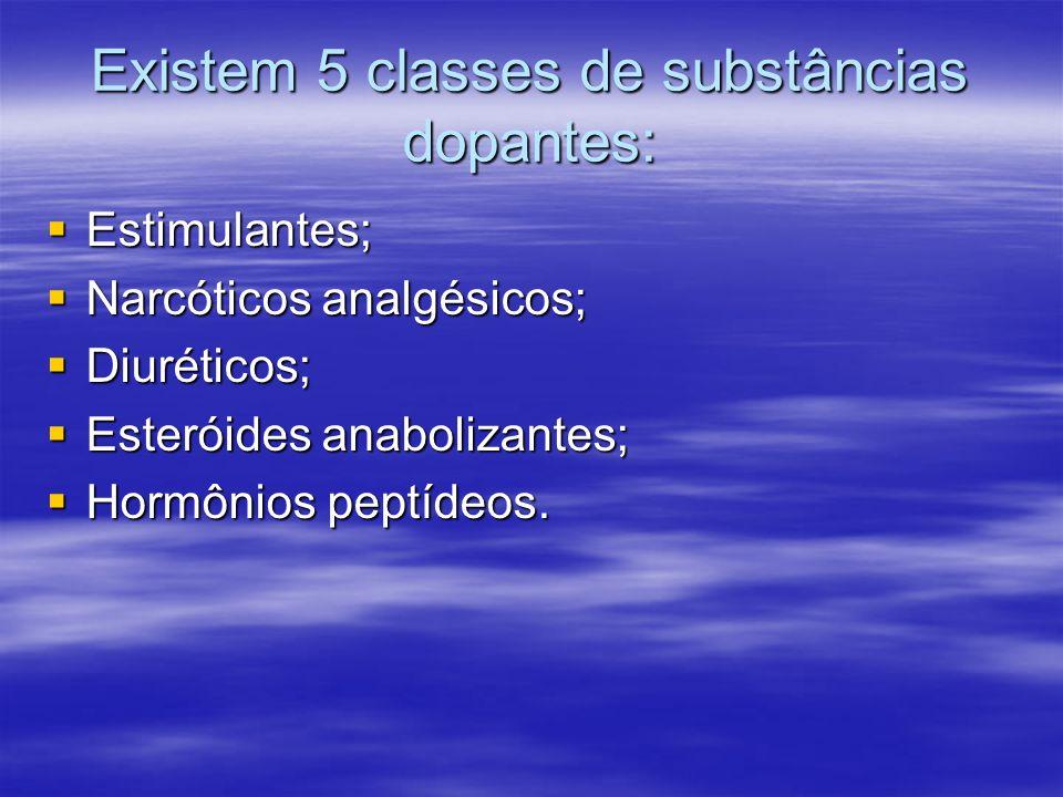 Existem 5 classes de substâncias dopantes: Estimulantes; Estimulantes; Narcóticos analgésicos; Narcóticos analgésicos; Diuréticos; Diuréticos; Esterói