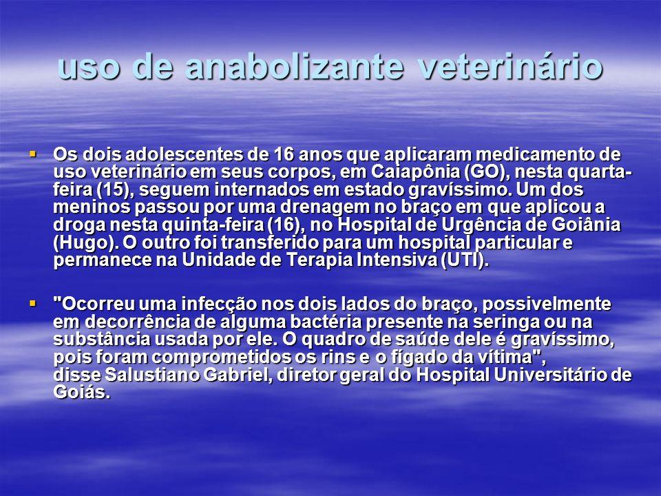 uso de anabolizante veterinário Os dois adolescentes de 16 anos que aplicaram medicamento de uso veterinário em seus corpos, em Caiapônia (GO), nesta