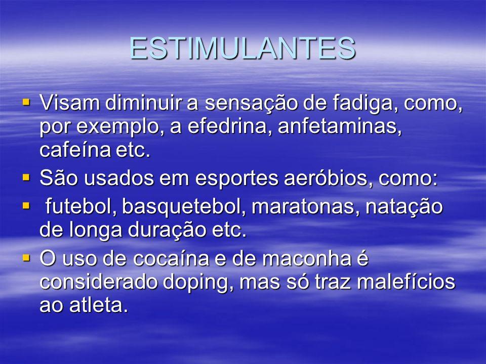 NARCÓTICOS ANALGÉSICOS Usados em qualquer esporte, visam diminuir a dor de pequenas lesões, aliviar o mal-estar, cansaço etc.