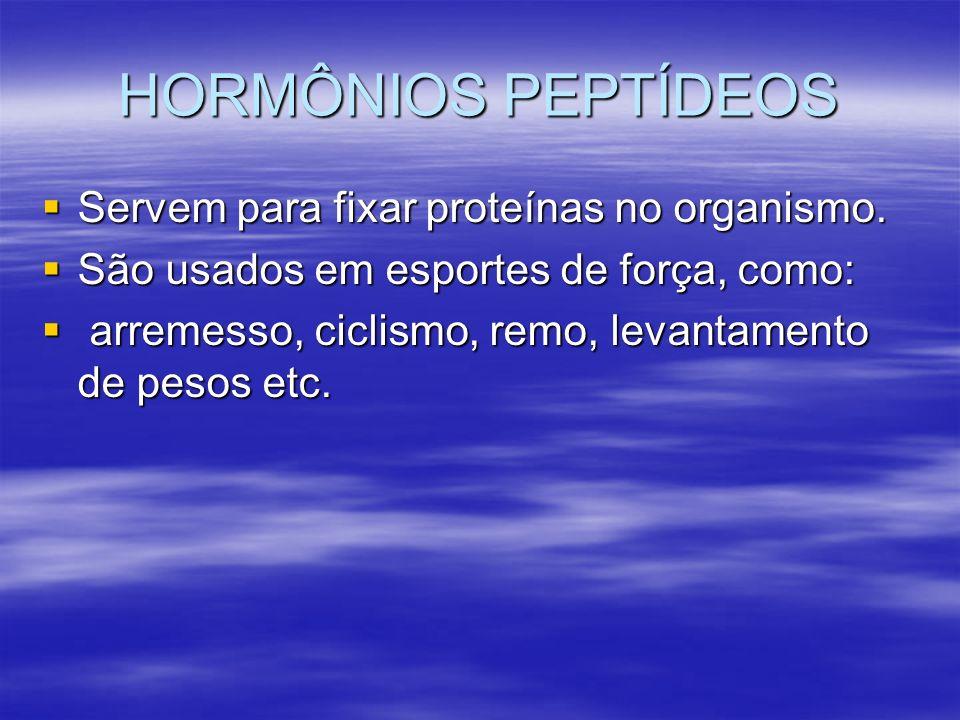HORMÔNIOS PEPTÍDEOS Servem para fixar proteínas no organismo. Servem para fixar proteínas no organismo. São usados em esportes de força, como: São usa