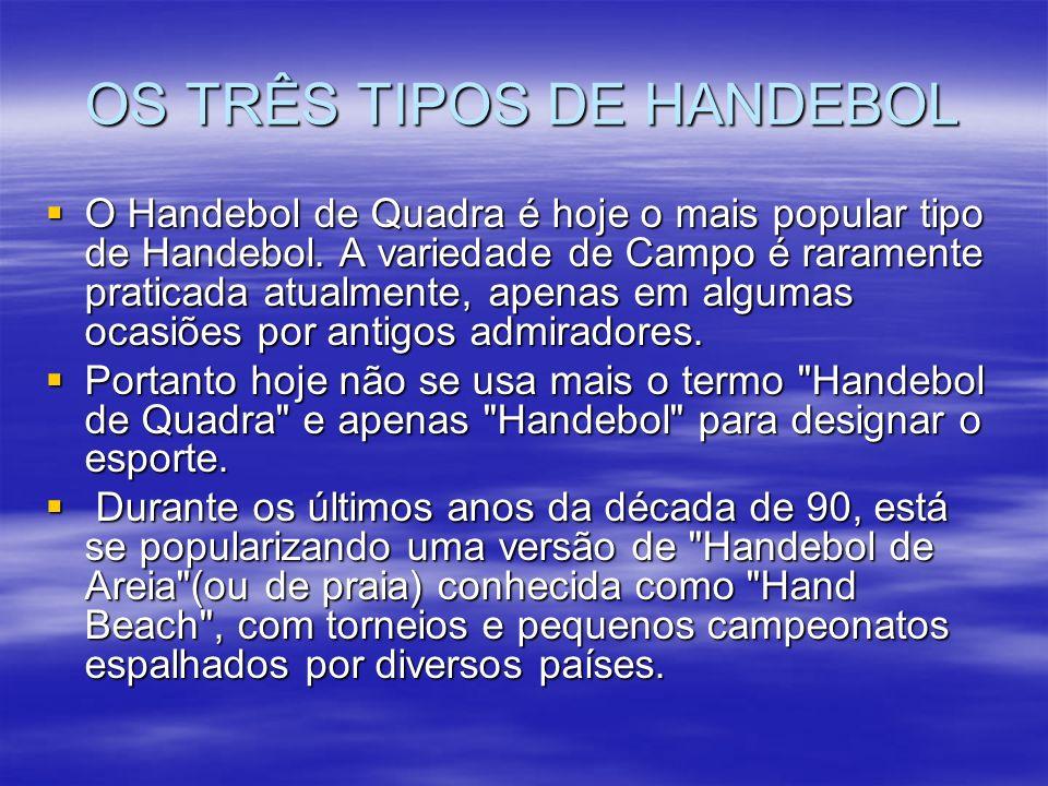 OS TRÊS TIPOS DE HANDEBOL O Handebol de Quadra é hoje o mais popular tipo de Handebol. A variedade de Campo é raramente praticada atualmente, apenas e