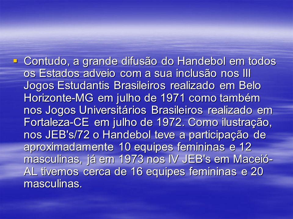 Contudo, a grande difusão do Handebol em todos os Estados adveio com a sua inclusão nos III Jogos Estudantis Brasileiros realizado em Belo Horizonte-M