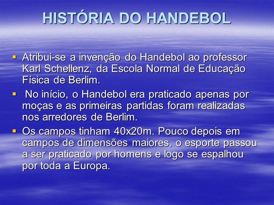 HISTÓRIA DO HANDEBOL Atribui-se a invenção do Handebol ao professor Karl Schellenz, da Escola Normal de Educação Física de Berlim. Atribui-se a invenç
