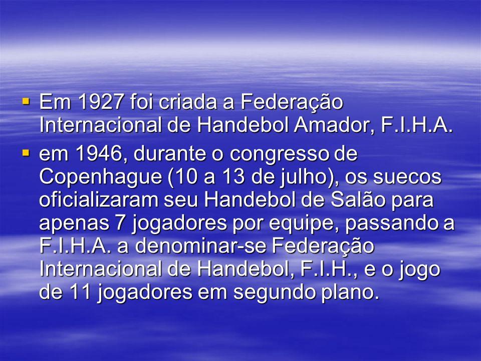 Em 1927 foi criada a Federação Internacional de Handebol Amador, F.I.H.A. Em 1927 foi criada a Federação Internacional de Handebol Amador, F.I.H.A. em