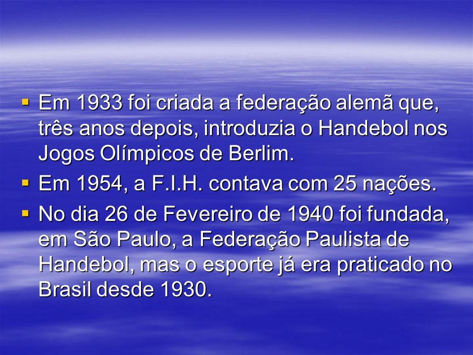 Em 1933 foi criada a federação alemã que, três anos depois, introduzia o Handebol nos Jogos Olímpicos de Berlim. Em 1933 foi criada a federação alemã