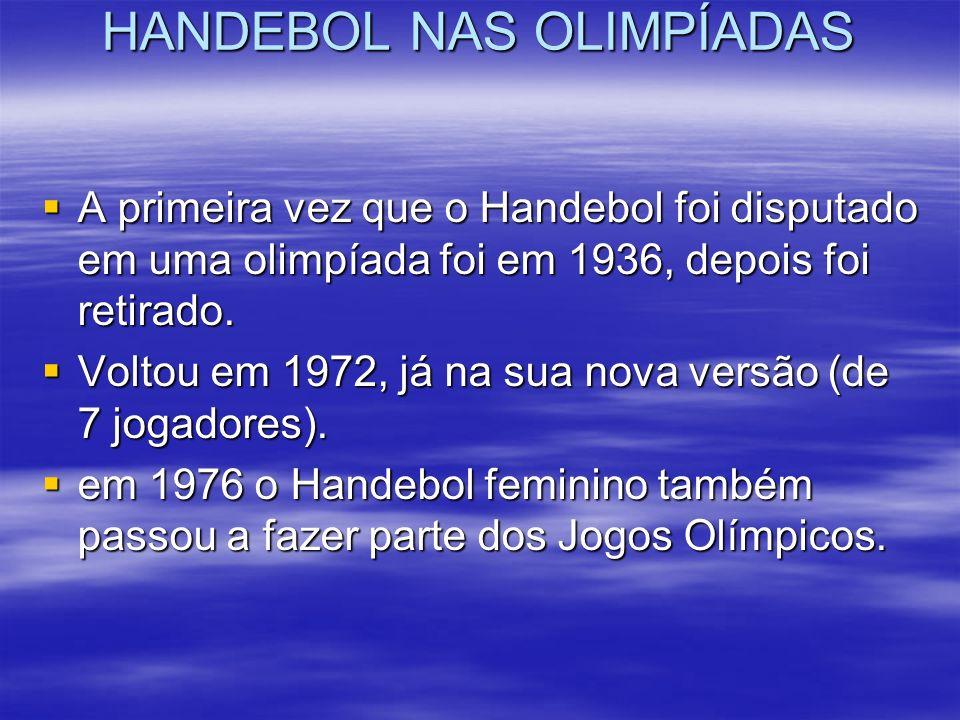 HANDEBOL NAS OLIMPÍADAS A primeira vez que o Handebol foi disputado em uma olimpíada foi em 1936, depois foi retirado. A primeira vez que o Handebol f