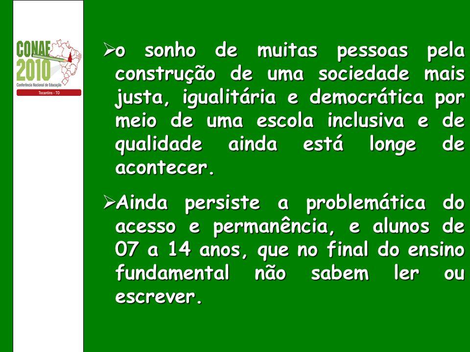 o sonho de muitas pessoas pela construção de uma sociedade mais justa, igualitária e democrática por meio de uma escola inclusiva e de qualidade ainda