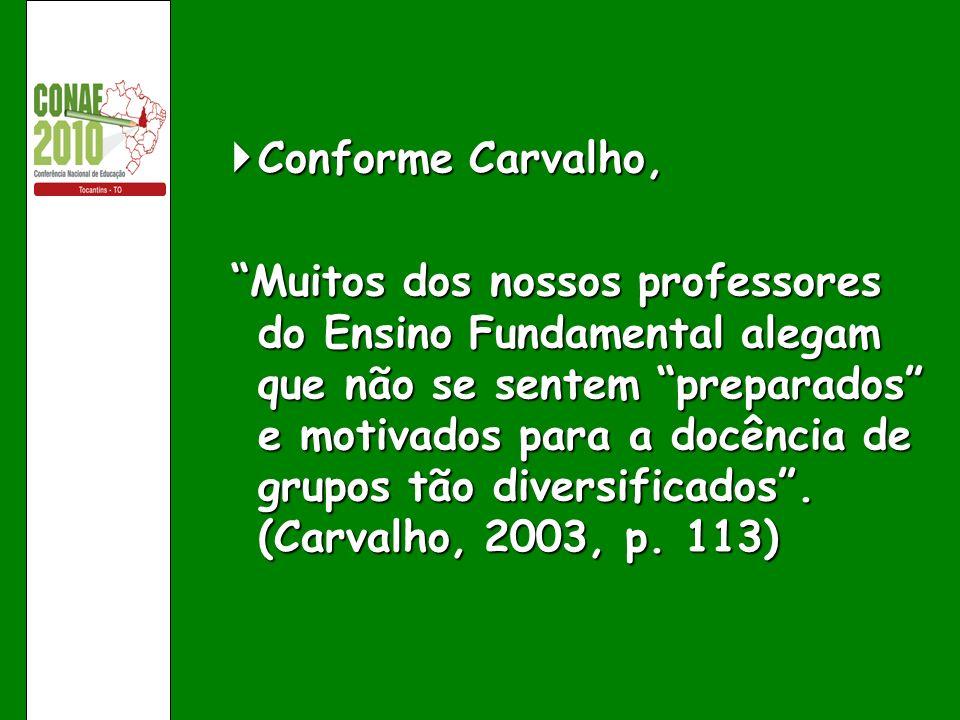 Conforme Carvalho, Conforme Carvalho, Muitos dos nossos professores do Ensino Fundamental alegam que não se sentem preparados e motivados para a docên