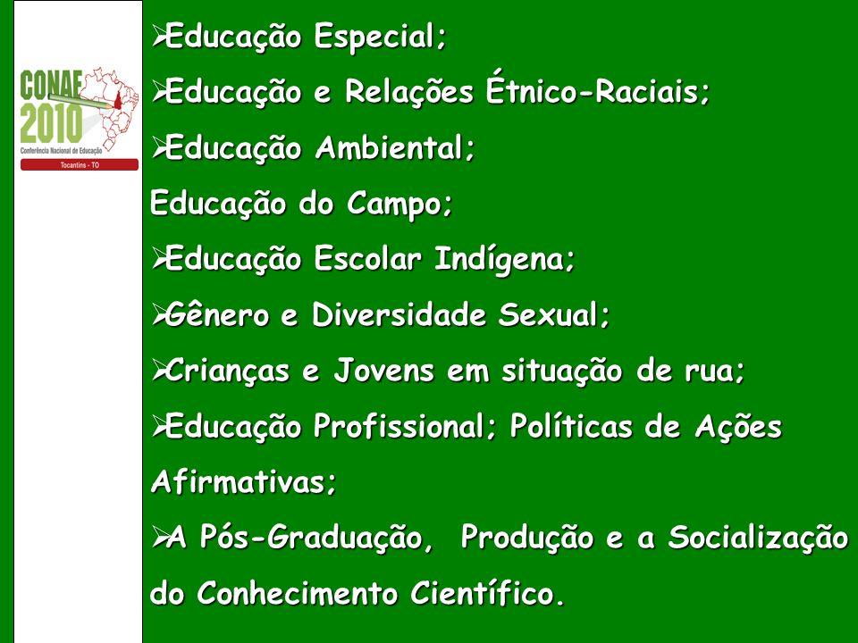 Educação Especial; Educação Especial; Educação e Relações Étnico-Raciais; Educação e Relações Étnico-Raciais; Educação Ambiental; Educação Ambiental;
