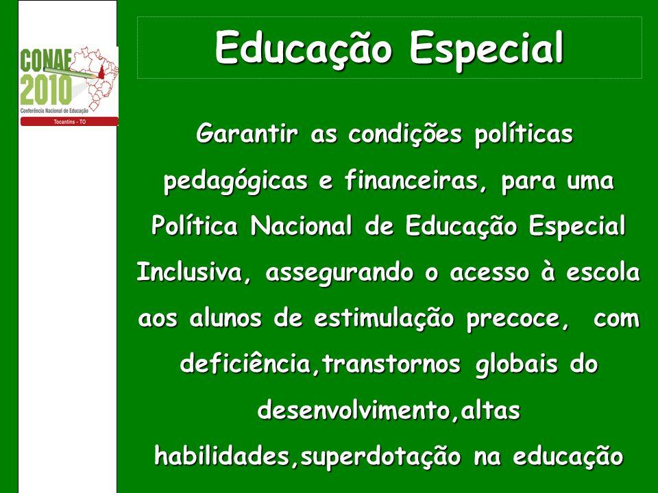Educação Especial Garantir as condições políticas pedagógicas e financeiras, para uma Política Nacional de Educação Especial Inclusiva, assegurando o