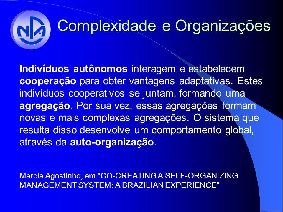 Complexidade e Organizações Indivíduos autônomos interagem e estabelecem cooperação para obter vantagens adaptativas. Estes indivíduos cooperativos se