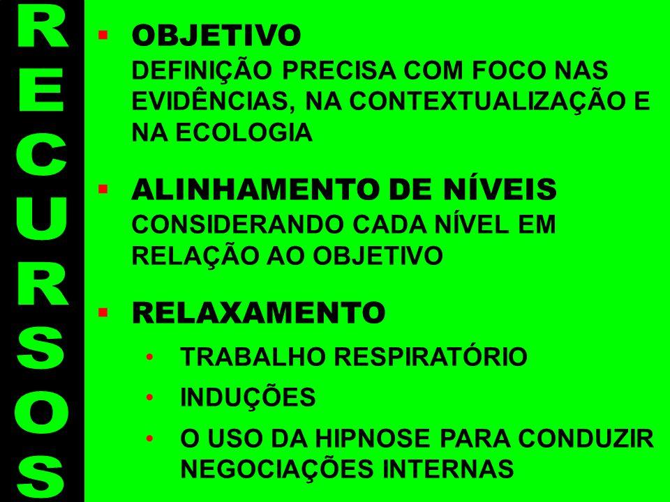 Recursos - 4 OBJETIVO DEFINIÇÃO PRECISA COM FOCO NAS EVIDÊNCIAS, NA CONTEXTUALIZAÇÃO E NA ECOLOGIA ALINHAMENTO DE NÍVEIS CONSIDERANDO CADA NÍVEL EM RE