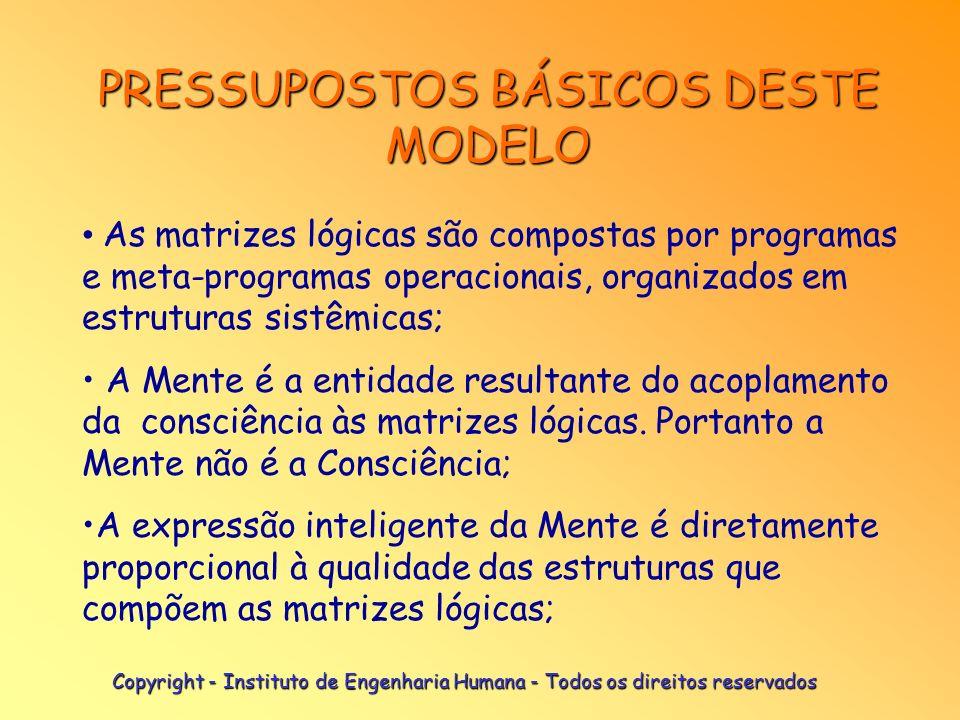 PRESSUPOSTOS BÁSICOS DESTE MODELO As matrizes lógicas são compostas por programas e meta-programas operacionais, organizados em estruturas sistêmicas; A Mente é a entidade resultante do acoplamento da consciência às matrizes lógicas.
