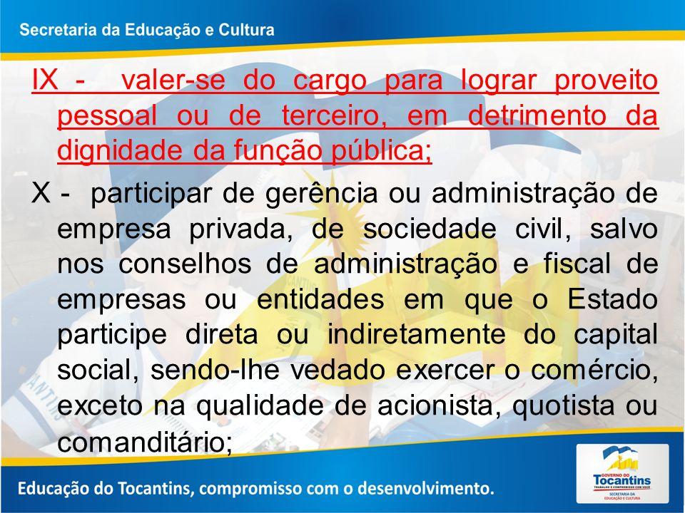 IX - valer-se do cargo para lograr proveito pessoal ou de terceiro, em detrimento da dignidade da função pública; X - participar de gerência ou admini