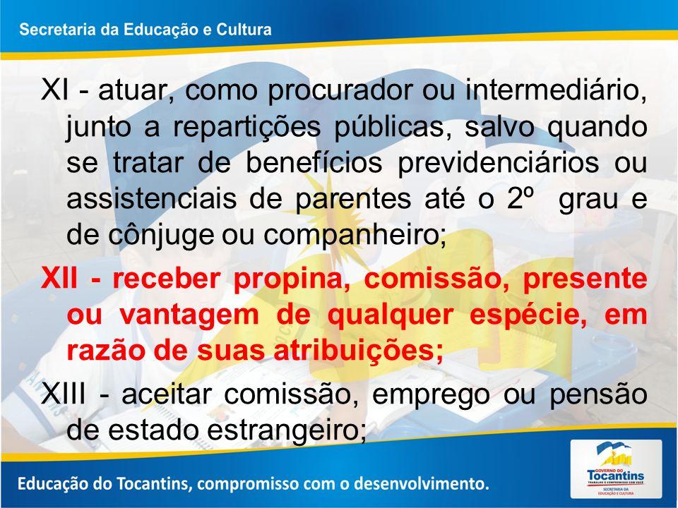 XI - atuar, como procurador ou intermediário, junto a repartições públicas, salvo quando se tratar de benefícios previdenciários ou assistenciais de p