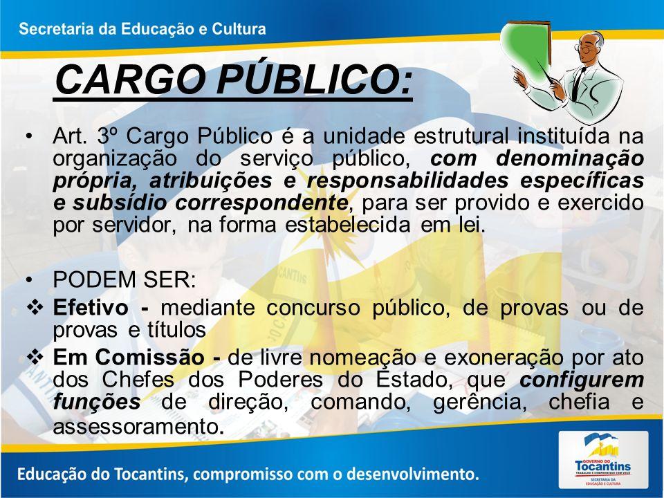 CARGO PÚBLICO: Art. 3º Cargo Público é a unidade estrutural instituída na organização do serviço público, com denominação própria, atribuições e respo