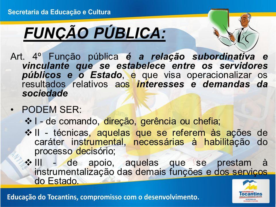 FUNÇÃO PÚBLICA: Art. 4º Função pública é a relação subordinativa e vinculante que se estabelece entre os servidores públicos e o Estado, e que visa op