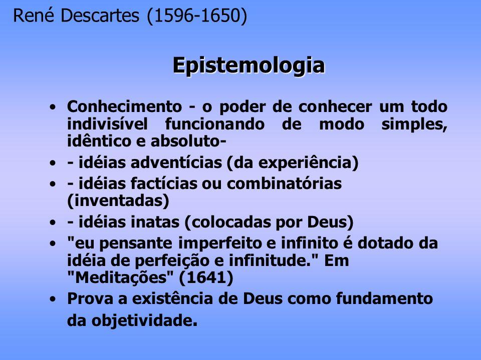Mente consciência pura pensamento vontade não biológica compreensão/vonta de julgamentos Corpo sensações movimentos emoções e paixões biológica área confusa entre mente e corpo (emoções, percepções) René Descartes (1596-1650)