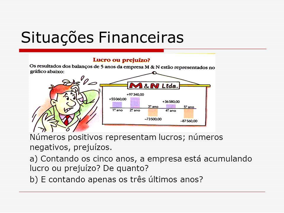 Situações Financeiras Números positivos representam lucros; números negativos, prejuízos.