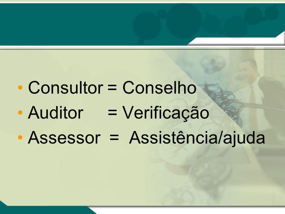 Consultor = Conselho Auditor = Verificação Assessor = Assistência/ajuda