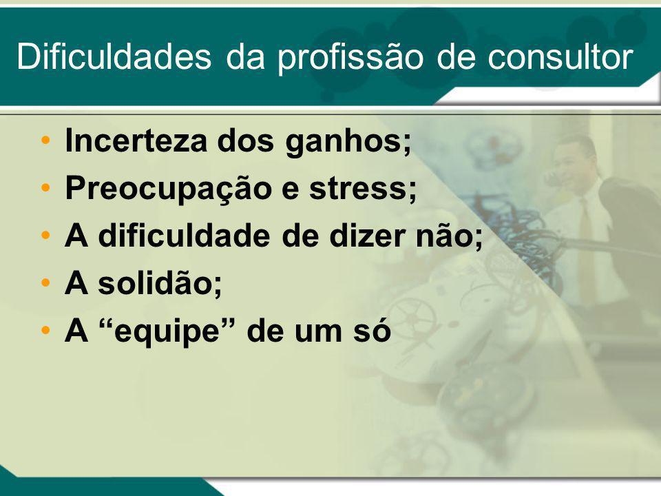 Dificuldades da profissão de consultor Incerteza dos ganhos; Preocupação e stress; A dificuldade de dizer não; A solidão; A equipe de um só