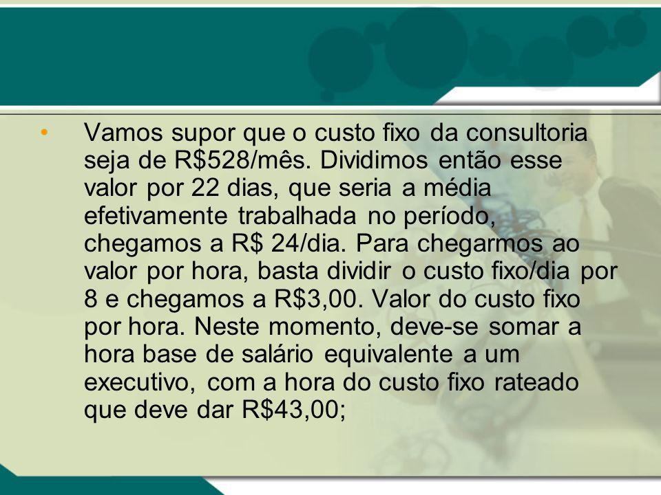 Vamos supor que o custo fixo da consultoria seja de R$528/mês.