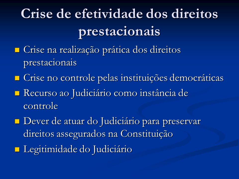 Crise de efetividade dos direitos prestacionais Crise na realização prática dos direitos prestacionais Crise na realização prática dos direitos presta