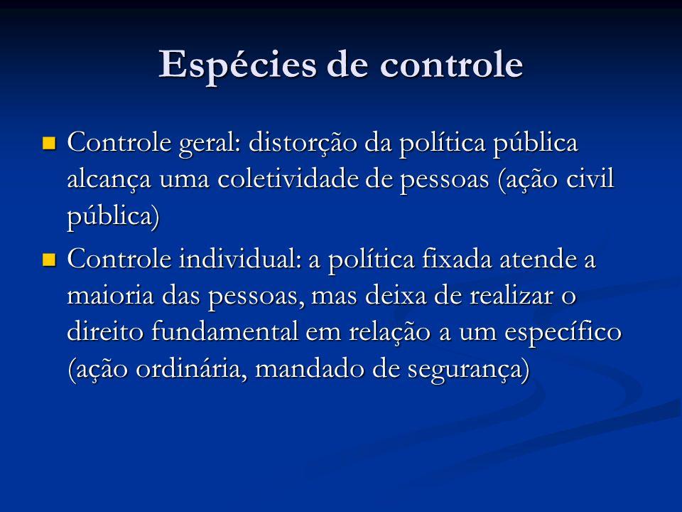 Espécies de controle Controle geral: distorção da política pública alcança uma coletividade de pessoas (ação civil pública) Controle geral: distorção