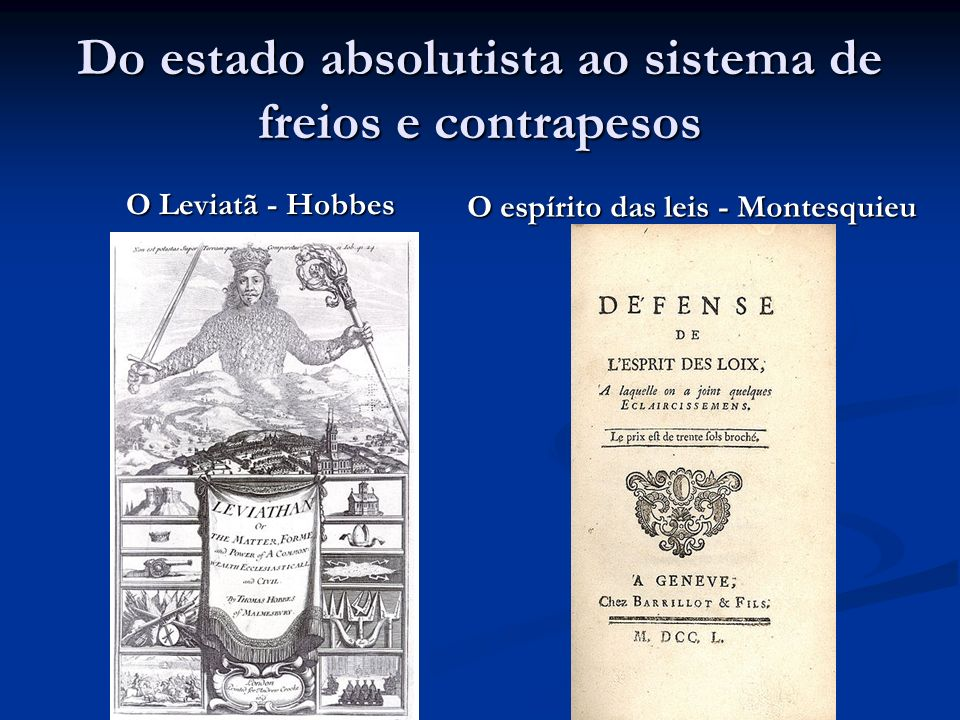 Do estado absolutista ao sistema de freios e contrapesos O Leviatã - Hobbes O espírito das leis - Montesquieu