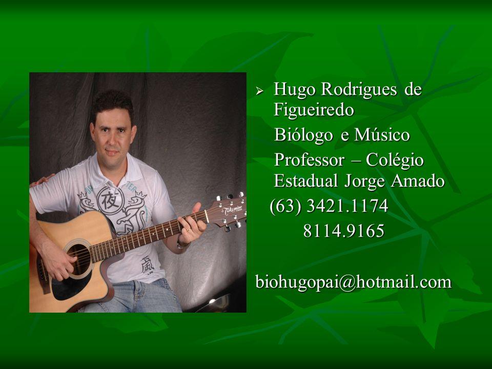 Hugo Rodrigues de Figueiredo Hugo Rodrigues de Figueiredo Biólogo e Músico Biólogo e Músico Professor – Colégio Estadual Jorge Amado Professor – Colég