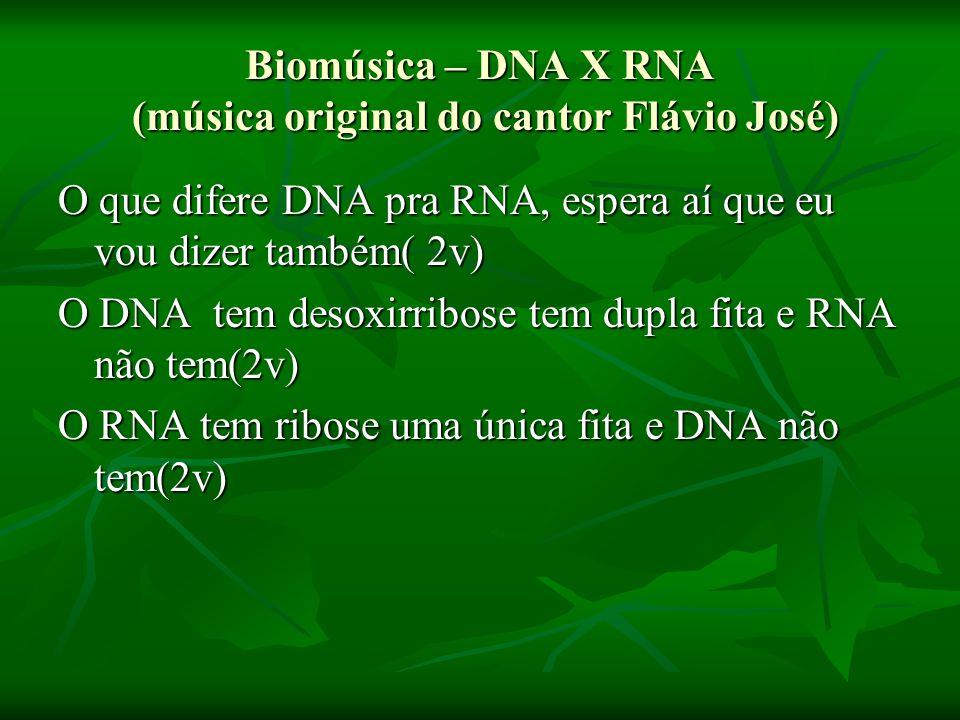 Biomúsica – DNA X RNA (música original do cantor Flávio José) O que difere DNA pra RNA, espera aí que eu vou dizer também( 2v) O DNA tem desoxirribose