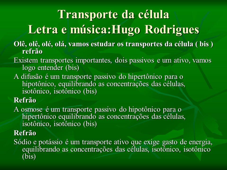 Transporte da célula Letra e música:Hugo Rodrigues Olê, olê, olé, olá, vamos estudar os transportes da célula ( bis ) refrão Existem transportes impor
