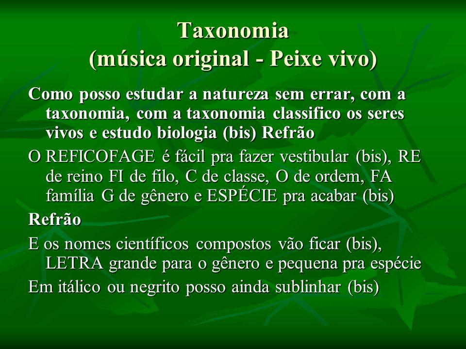 Taxonomia (música original - Peixe vivo) Como posso estudar a natureza sem errar, com a taxonomia, com a taxonomia classifico os seres vivos e estudo