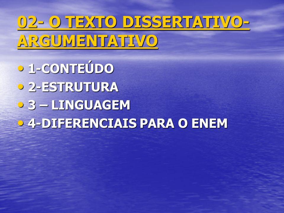 02- O TEXTO DISSERTATIVO- ARGUMENTATIVO 1-CONTEÚDO 1-CONTEÚDO 2-ESTRUTURA 2-ESTRUTURA 3 – LINGUAGEM 3 – LINGUAGEM 4-DIFERENCIAIS PARA O ENEM 4-DIFEREN