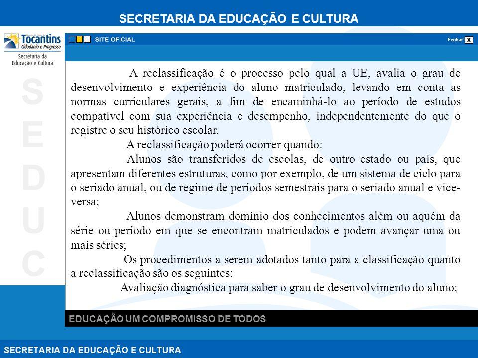 SECRETARIA DA EDUCAÇÃO E CULTURA x Fechar EDUCAÇÃO UM COMPROMISSO DE TODOS SEDUCSEDUC A reclassificação é o processo pelo qual a UE, avalia o grau de