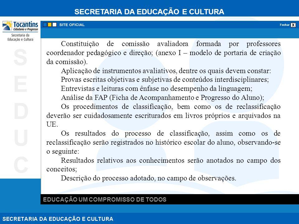 SECRETARIA DA EDUCAÇÃO E CULTURA x Fechar EDUCAÇÃO UM COMPROMISSO DE TODOS SEDUCSEDUC Constituição de comissão avaliadora formada por professores coordenador pedagógico e direção; (anexo I – modelo de portaria de criação da comissão).