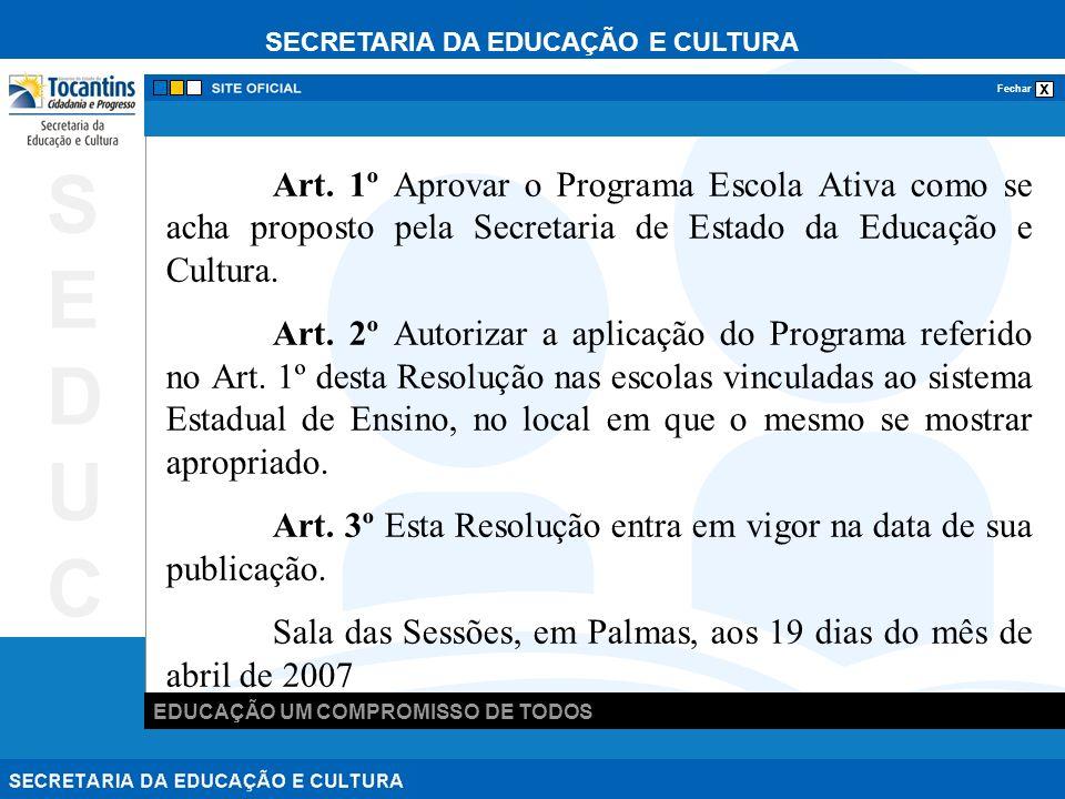 SECRETARIA DA EDUCAÇÃO E CULTURA x Fechar EDUCAÇÃO UM COMPROMISSO DE TODOS SEDUCSEDUC Art.