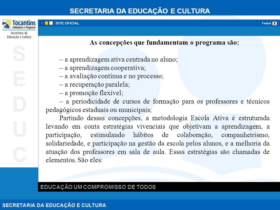 SECRETARIA DA EDUCAÇÃO E CULTURA x Fechar EDUCAÇÃO UM COMPROMISSO DE TODOS SEDUCSEDUC As concepções que fundamentam o programa são: – a aprendizagem ativa centrada no aluno; – a aprendizagem cooperativa; – a avaliação contínua e no processo; – a recuperação paralela; – a promoção flexível; – a periodicidade de cursos de formação para os professores e técnicos pedagógicos estaduais ou municipais; Partindo dessas concepções, a metodologia Escola Ativa é estruturada levando em conta estratégias vivenciais que objetivam a aprendizagem, a participação, estimulando hábitos de colaboração, companheirismo, solidariedade, e participação na gestão da escola pelos alunos, e a melhoria da atuação dos professores em sala de aula.