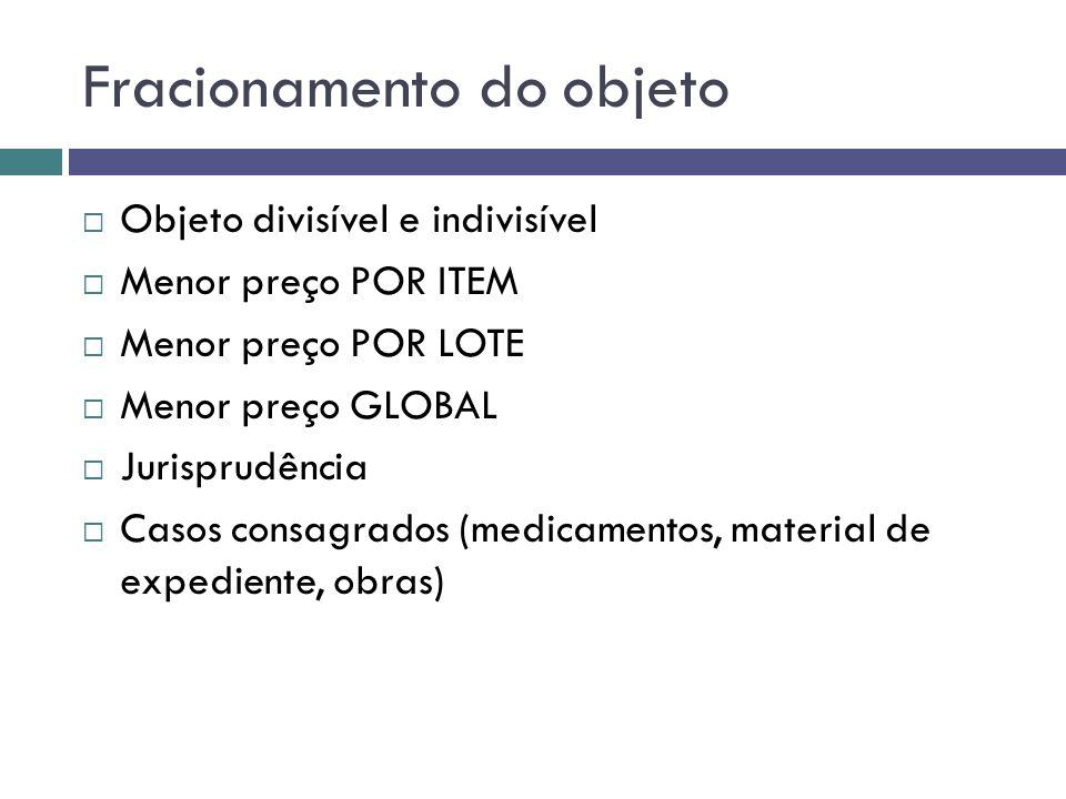 Fracionamento do objeto Objeto divisível e indivisível Menor preço POR ITEM Menor preço POR LOTE Menor preço GLOBAL Jurisprudência Casos consagrados (