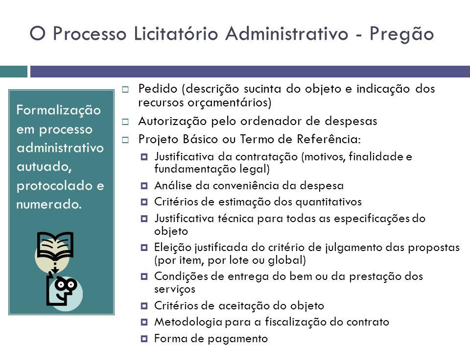 O Processo Licitatório Administrativo - Pregão Formalização em processo administrativo autuado, protocolado e numerado. Pedido (descrição sucinta do o