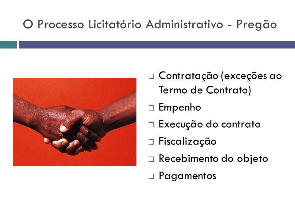 O Processo Licitatório Administrativo - Pregão Contratação (exceções ao Termo de Contrato) Empenho Execução do contrato Fiscalização Recebimento do ob