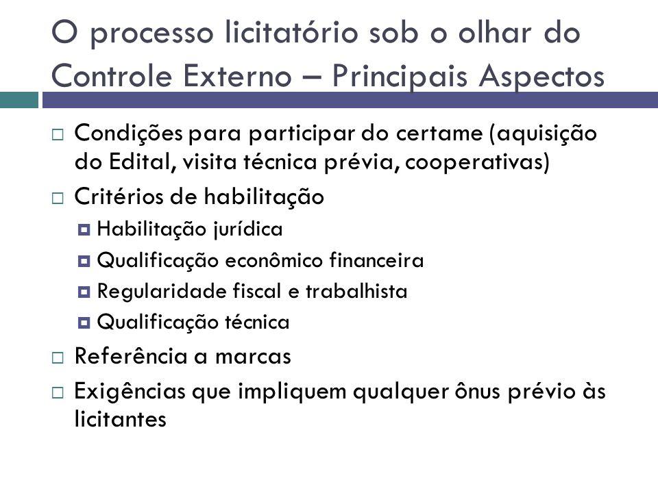 O processo licitatório sob o olhar do Controle Externo – Principais Aspectos Condições para participar do certame (aquisição do Edital, visita técnica