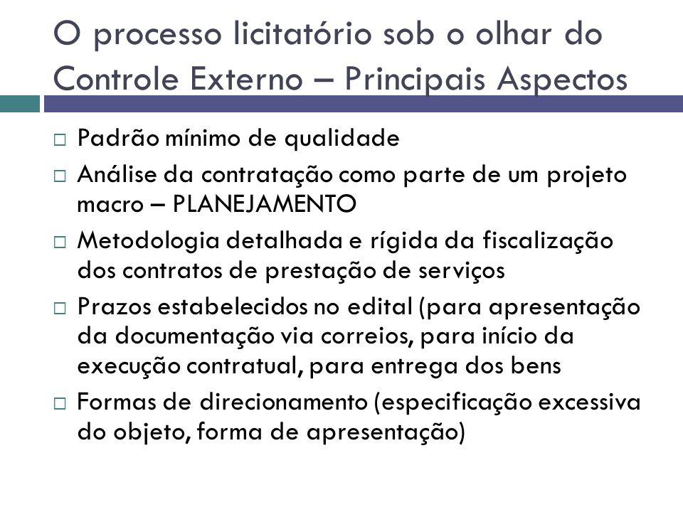 O processo licitatório sob o olhar do Controle Externo – Principais Aspectos Padrão mínimo de qualidade Análise da contratação como parte de um projet