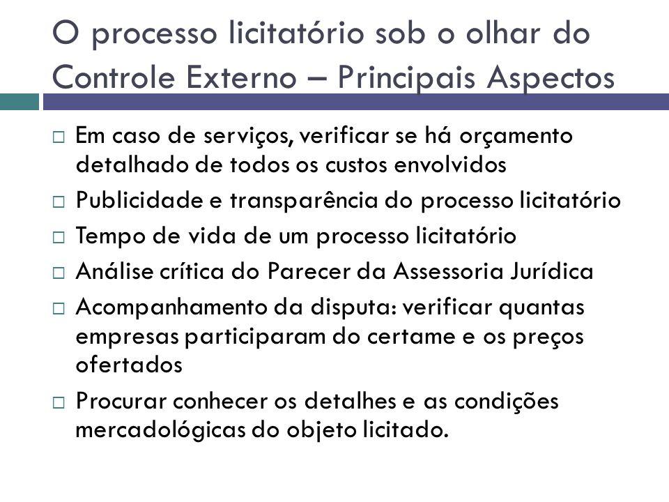 O processo licitatório sob o olhar do Controle Externo – Principais Aspectos Em caso de serviços, verificar se há orçamento detalhado de todos os cust