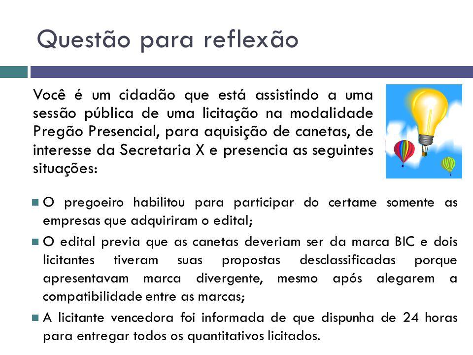 Questão para reflexão Você é um cidadão que está assistindo a uma sessão pública de uma licitação na modalidade Pregão Presencial, para aquisição de c