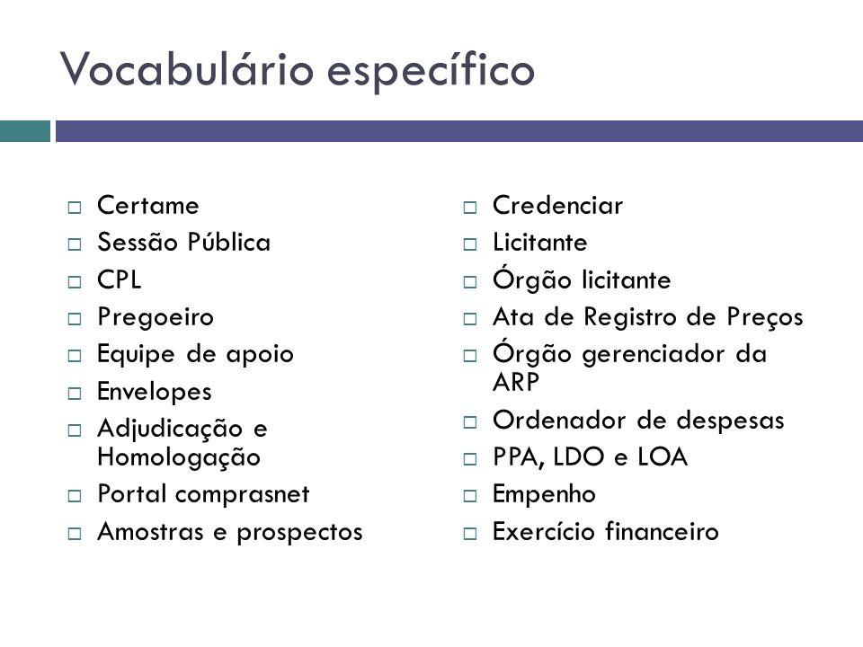 Vocabulário específico Certame Sessão Pública CPL Pregoeiro Equipe de apoio Envelopes Adjudicação e Homologação Portal comprasnet Amostras e prospecto
