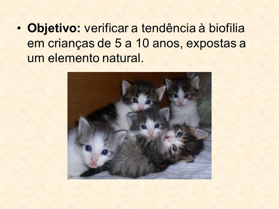Objetivo: verificar a tendência à biofilia em crianças de 5 a 10 anos, expostas a um elemento natural.