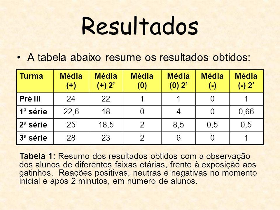 Resultados A tabela abaixo resume os resultados obtidos: TurmaMédia (+) Média (+) 2 Média (0) Média (0) 2 Média (-) Média (-) 2 Pré III24221101 1ª sér